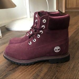 Maroon Velvet Timberland Boots